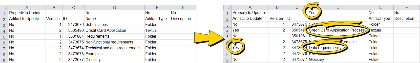 functional requirements excel
